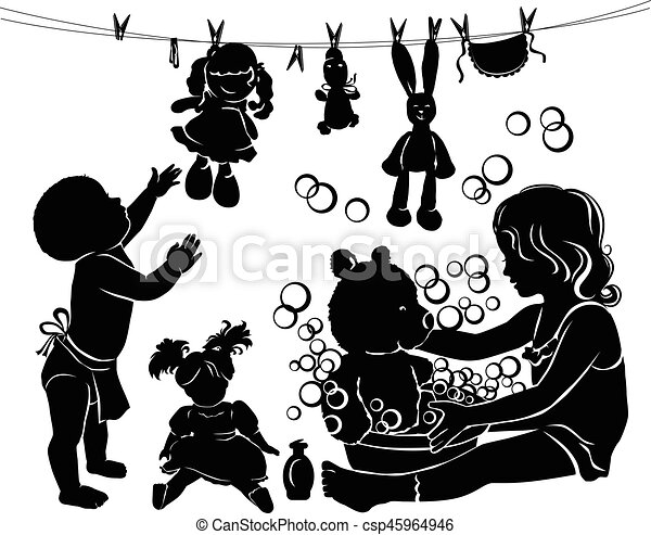 Silhouette Children Bathe Toys Silhouette Little Children Bathe Toys