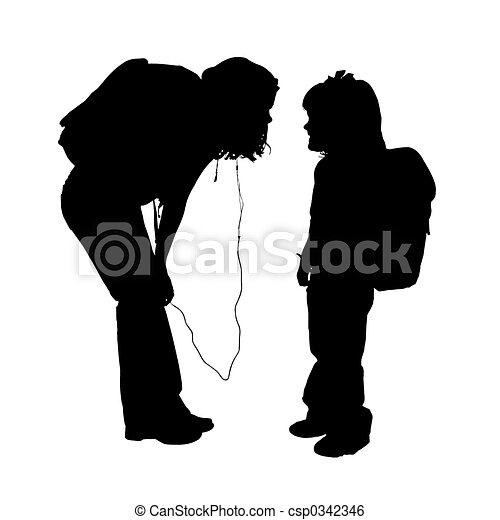 Silhouette Children Silhouette Over White Two Girls With