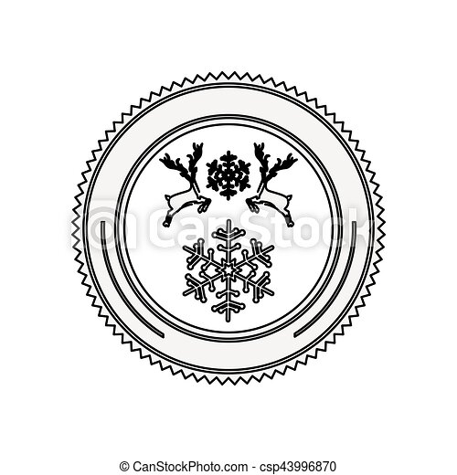 Silhouette Circular Border With Reindeer And Snowflake Christmas