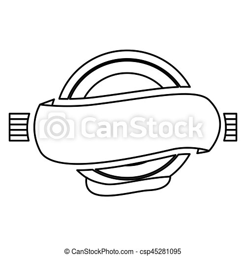 silhouette circular frame with banner and label icon vector