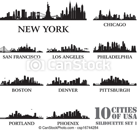 Silhouette city set of USA #1 - csp16744284