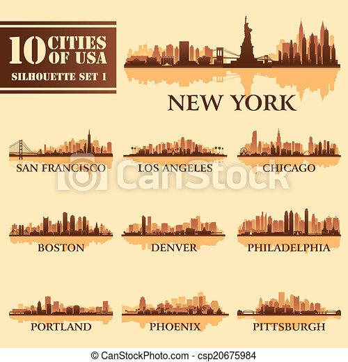 Silhouette city set of USA 1 - csp20675984