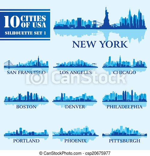 Silhouette city set of USA 1 - csp20675977