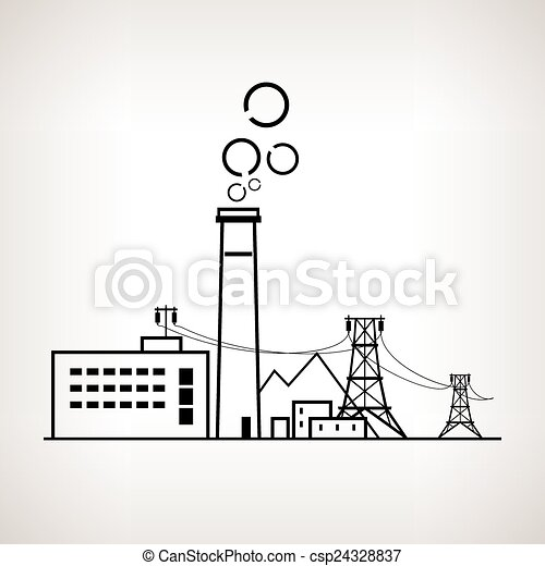 Silhouette coal power station, vector illustration - csp24328837