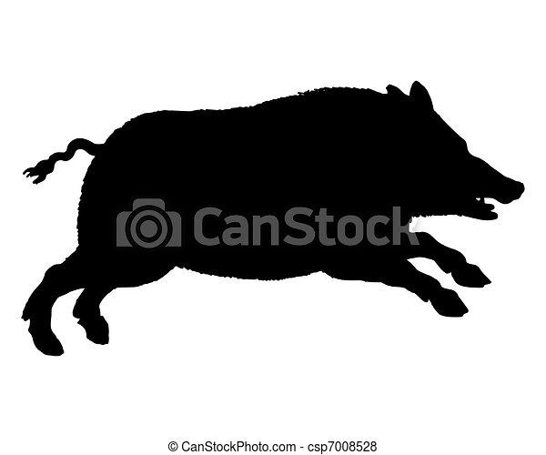 silhouette, cochon, courant, noir, sauvage, blanc - csp7008528