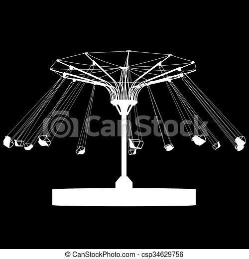 silhouette, coloré, wheel., atraktsion, illustration, ferris, vecteur - csp34629756