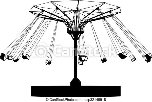 silhouette, coloré, wheel., atraktsion, illustration, ferris, vecteur - csp32149918