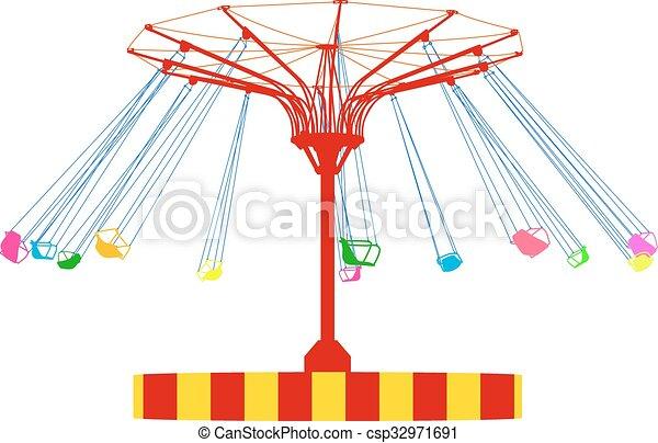 silhouette, coloré, wheel., atraktsion, illustration, ferris, vecteur - csp32971691