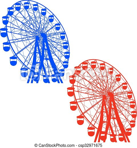 silhouette, coloré, wheel., atraktsion, illustration, ferris, vecteur - csp32971675
