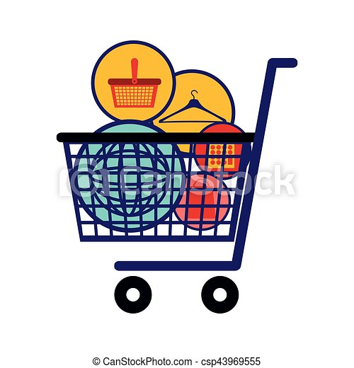 Full Grocery Cart Clipart Silhouette colo...