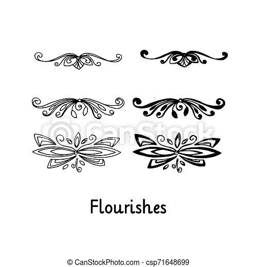 silhouette, contour, elements., isolé, flourishes., main, noir, dessiné - csp71648699