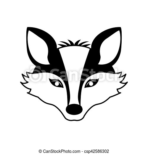 Aninimal Book: Silhouette contour monochrome with fox face vector ...