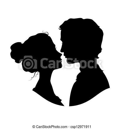silhouette, coppia, amare - csp12971911