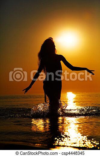 silhouette, coucher soleil - csp4448345