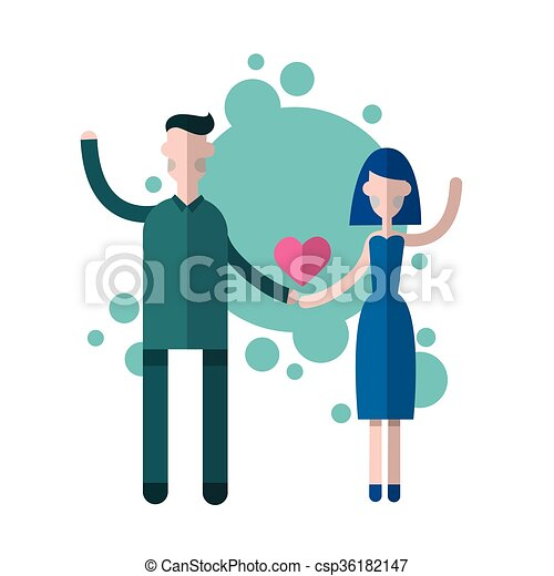 Silhouette Couple Holding Hands Heart Shape Love Valentine  - csp36182147