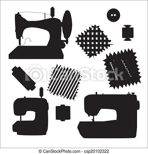 silhouette, couture, kit, vecteur, noir, machines - csp20102322
