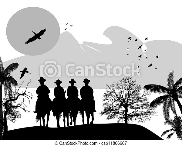 Silhouette cowboys with horses - csp11866667