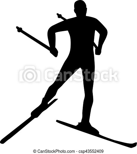 Silhouette cross country skiing - csp43552409