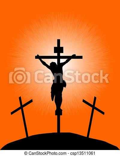 silhouette, crucifix - csp13511061