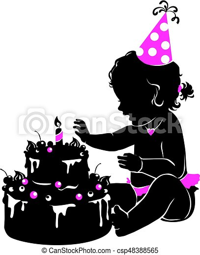 Silhouette cute baby girl with birthday cake with candle - csp48388565
