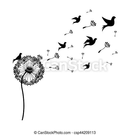 silhouette dandelion with fly birds vector illustration. Black Bedroom Furniture Sets. Home Design Ideas