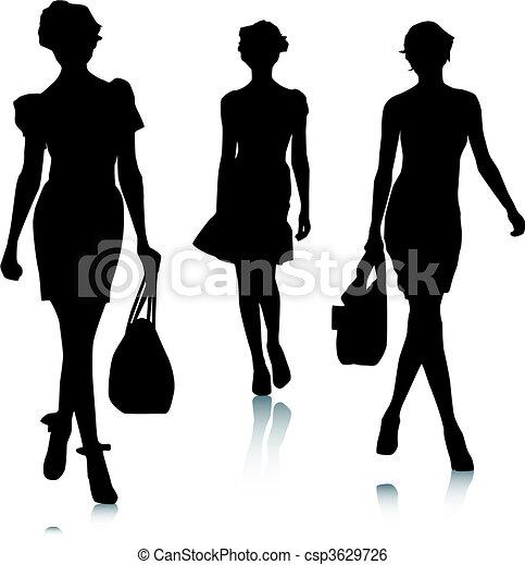 silhouette, donna, moda - csp3629726