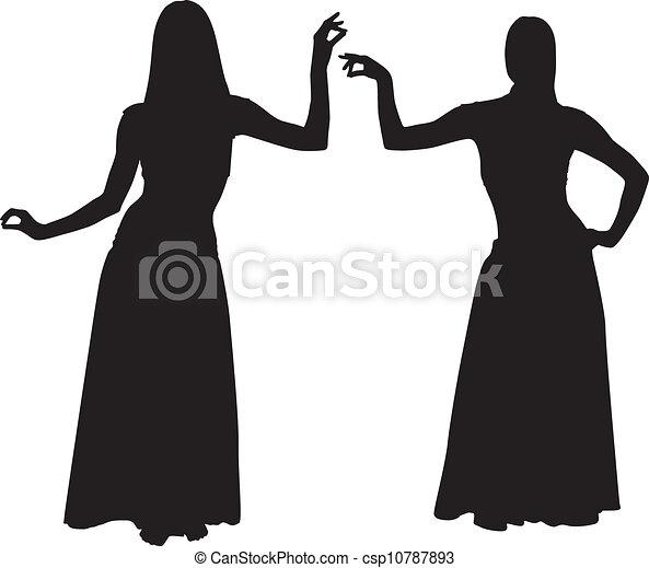 silhouette, donne, ballo ventre - csp10787893