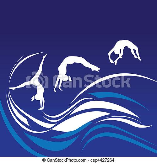 silhouette, donne, ginnasti - csp4427264