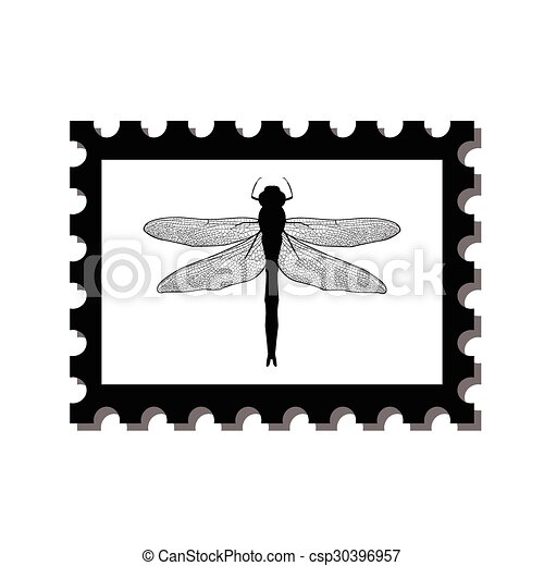 silhouette dragonfly on postage stamps dragonfly stamp isolated on