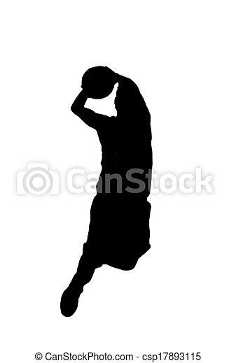 silhouette dunking on white - csp17893115