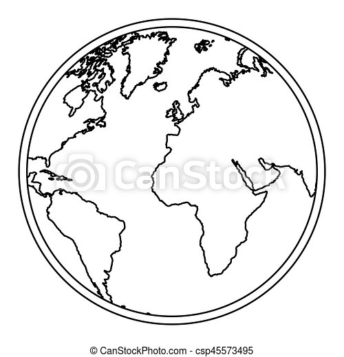 silhouette earth world map with continents icon - csp45573495