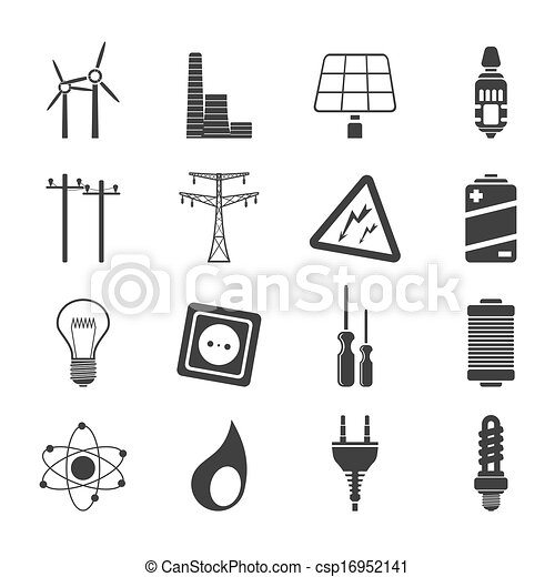 Silhouette Electricity Power Icons Silhouette Electricity Power