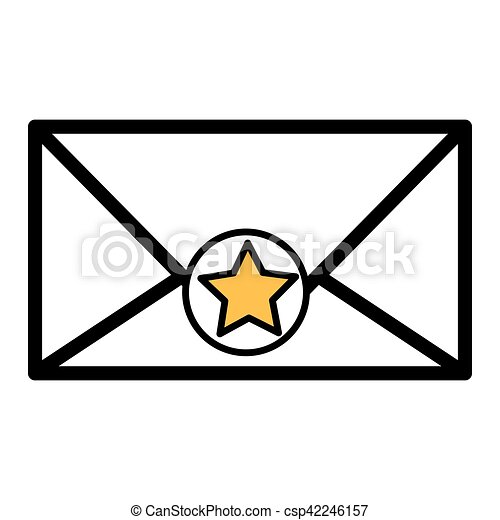 silhouette envelope with star sticker vector illustration clipart rh canstockphoto com envelope vector download envelope vector icon