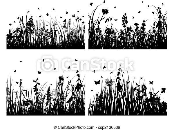 silhouette, erba, set - csp2136589