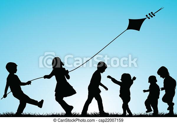silhouette, esterno, gruppo, aquilone, bambini - csp22007159