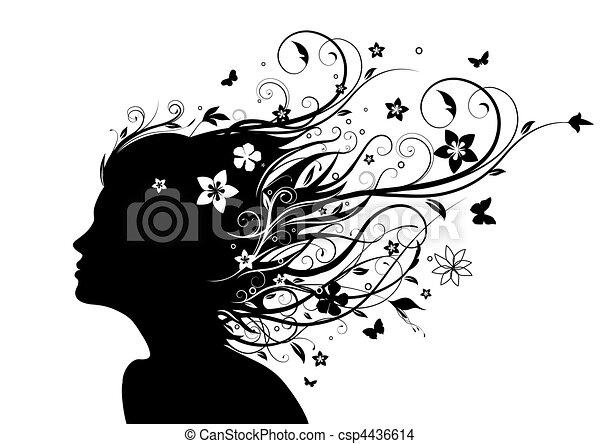 silhouette, faccia - csp4436614