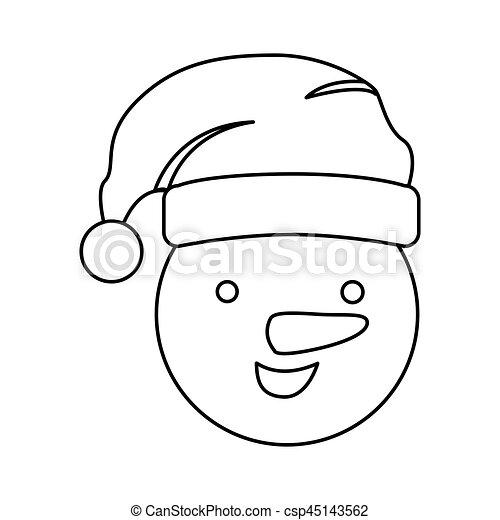 Silhouette Face Cartoon Snowman Christmas Design Vector Illustration