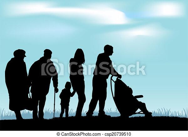 silhouette, famiglia - csp20739510