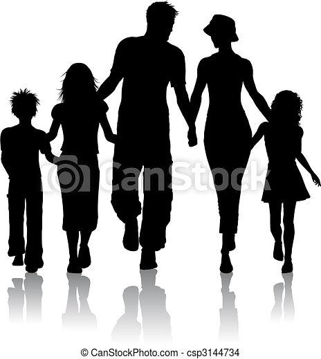 silhouette, familie - csp3144734