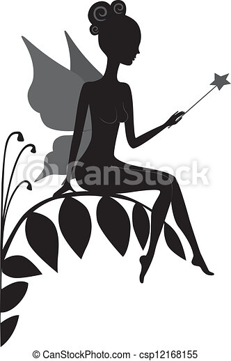 silhouette, fee, magisches - csp12168155