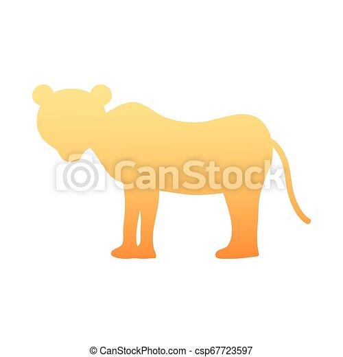 Silhouette female lion wild animal vector illustration.