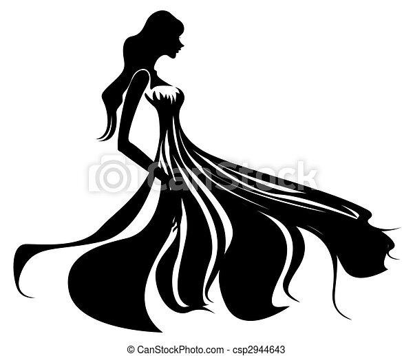 Super Dessins de silhouette, femme - beau, silhouette, illustration  OI74