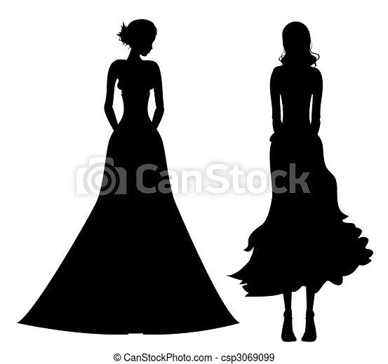 Super Illustration de silhouette, femme - blanc, femelle noire, fond  OI74