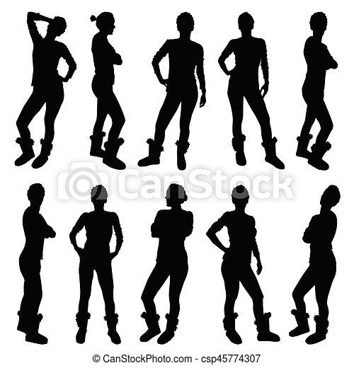 Silhouette, figur, farbe, abbildung, verschieden, schwarzes ...