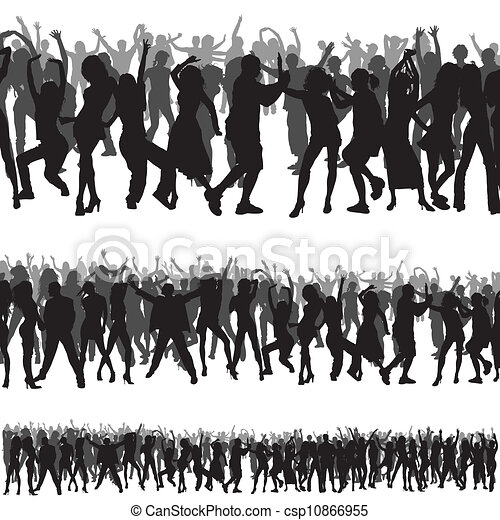 silhouette, folla - csp10866955