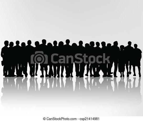 silhouette, folla - csp21414981