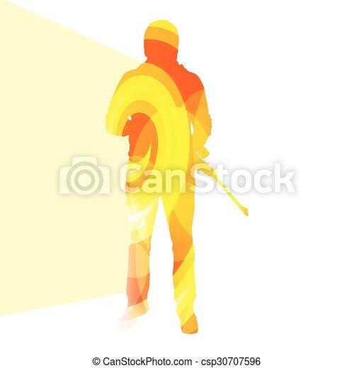 silhouette, fond, tir, homme, chasse, coloré, sport, illustration, concept - csp30707596
