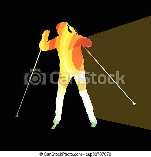 silhouette, fondo, sci, donna, colorito, illustrazione, concetto - csp30707670