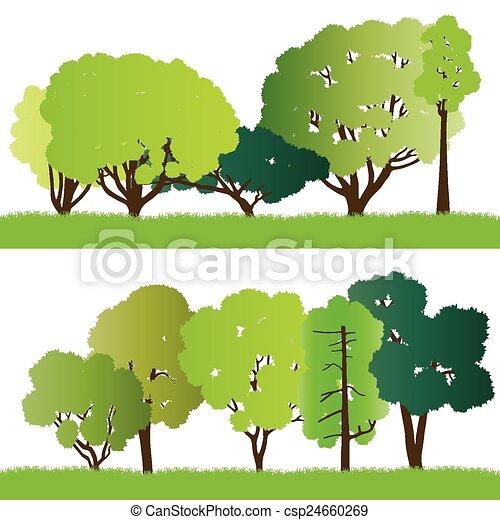 silhouette, foresta, albero - csp24660269