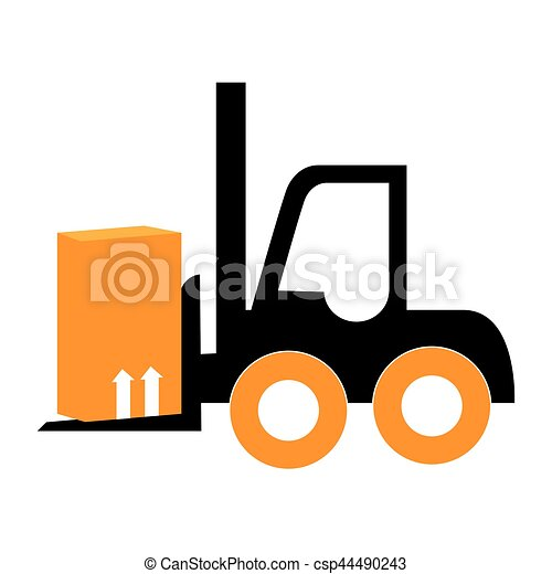 silhouette forklift truck with boxes - csp44490243